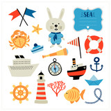 Set with nautical elements and rabbit. Cartoon style. Can be used for scrapbook, postcards, print and etc. - 196552162