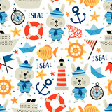 Seamless pattern with nautical elements and rabbit. Cartoon style. Can be used on packaging paper, fabric, background for different images, etc. - 196552174