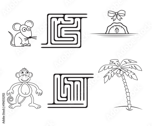 Square maze game for kids. Coloring page.