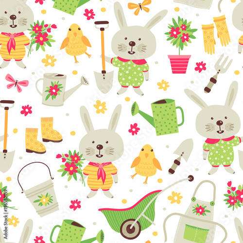 Seamless pattern with elements for gardening and rabbit. Cartoon style. Can be used for scrapbook, postcards, print and etc.