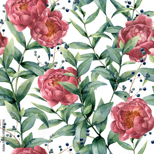 Watercolor pattern with eucalyptus, peony and berries. Hand painted floral branches with leaves, flowers isolated on white background. Nature botanical illustration for design or print. - 196555556