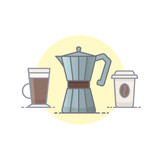 Coffee vector illustration filled outline style