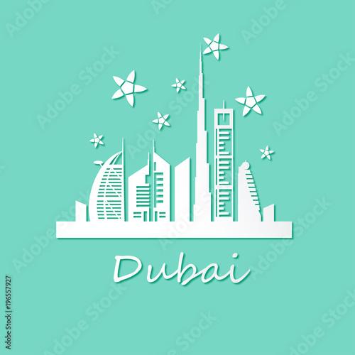 Deurstickers Groene koraal Dubai city landmarks and stars