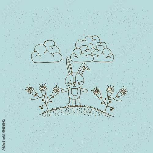 Staande foto Lichtblauw monochrome hand drawn landscape of bunny in hill with plants vector illustration