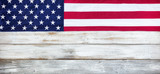 Cloth United States flag on white vintage wood plank background - 196562724
