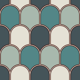 Seamless surface pattern with repeated scallops. Geometric figures abstract background. Simple ornament with scale - 196566704