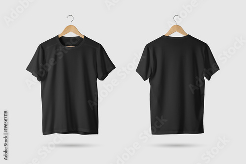 Leinwandbild Motiv Black T-Shirt Mock-up on wooden hanger, front and rear side view. 3D Rendering.