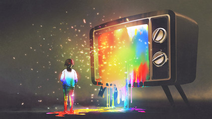 girl messed with colorful light from the big television, rainbow paint drops from retro TV, digital art style, illustration painting © grandfailure