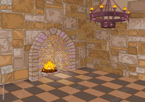 Fotobehang Meisjeskamer Castle Hall and Fireplace