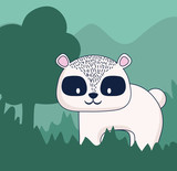 cute raccoon in a forest, colorful design. vector illustration