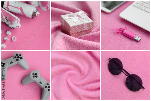 A set of pictures with fashionable youth objects on a soft fleece surface. Pastel pink color - 196574153