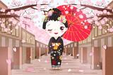 cute cartoon geisha - 196585305