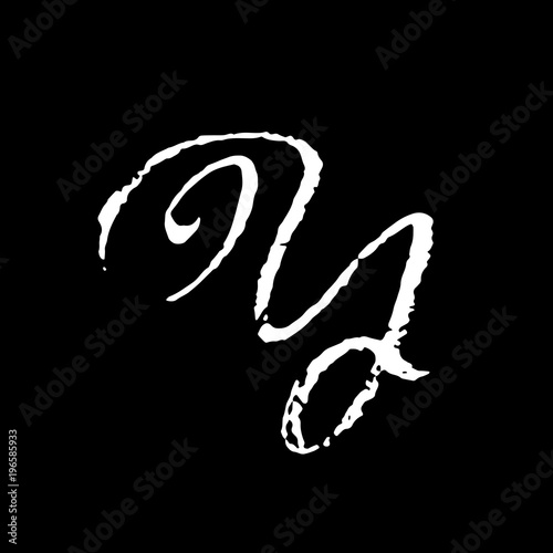 Letter Y. Handwritten by dry brush. Rough strokes textured font. Vector illustration. Grunge style elegant alphabet.