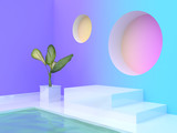 water pool tree pot abstract violet-purple blue yellow pink gradient wall-room blank podium 3d rendering - 196586139