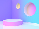 blank circle podium abstract violet-purple blue yellow pink gradient wall-room 3d rendering - 196586141