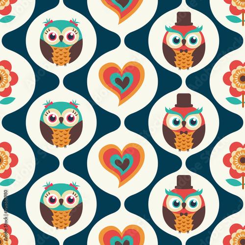 Fototapeta seamless cute birds cartoon wallpaper background