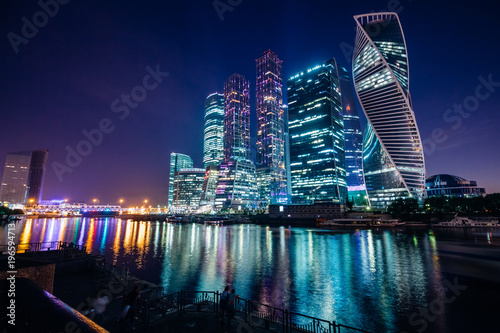 Foto op Canvas Moskou Nice view of the night Moscow