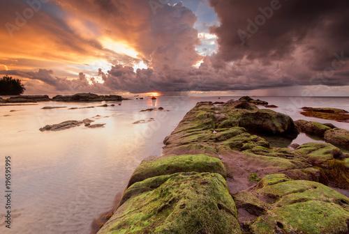 Foto op Canvas Cappuccino Sunset seascape with natural coastal rocks at Kudat, Sabah Malaysia.