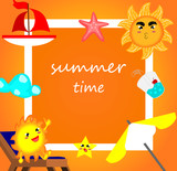 Summer banner,vacation time,cartoon style,vector.
