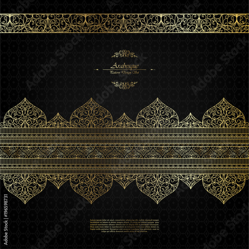 Pattern arabesque islamic element elegant black and gold background vector