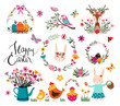 Easter elements collection with seasonal hand drawn items