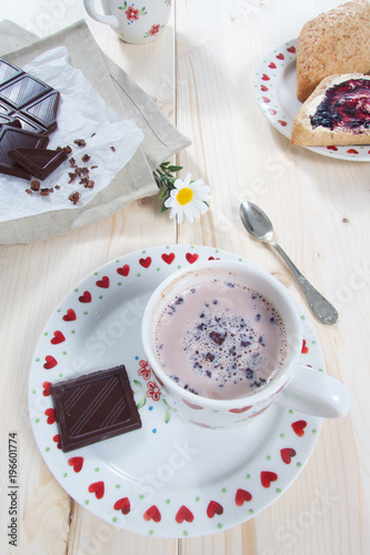 Poster Hot sweet cocoa drink with milk and chocolate