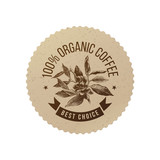 Organic coffee eco emblem - 196603334