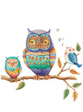 Watercolor illustration with cute cartoon owls and bird