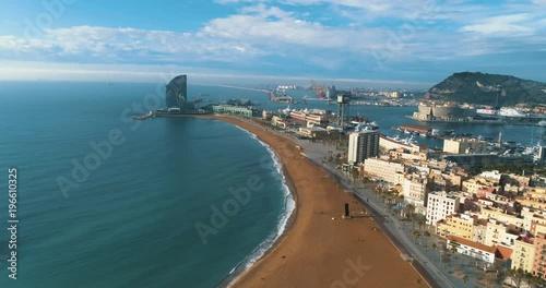Poster Drone Flight Barcelona Sea Coast Beach