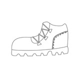 Trekking boot outline coloring page - 196612338