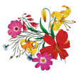 ector bouquet of garden flowers.Blooming flowers.Wildflowers. Vector Illustration on white background - 196616908