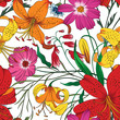 Beautiful seamless floral pattern . Flower vector illustration. Field of flowers - 196616940
