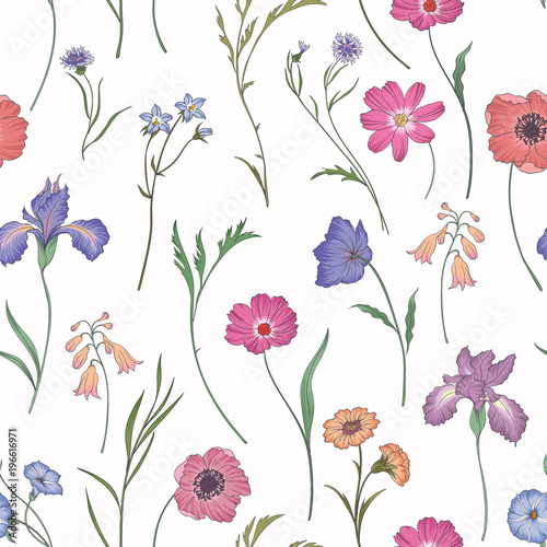 Beautiful seamless floral pattern . Flower vector illustration. Field of flowers - 196616971