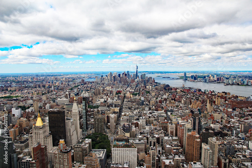 A view of downtown Manhattan looking towards Ellis Island