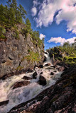 Beautiful waterfalls in the Norwegian mountains, Norway, Scandinavia