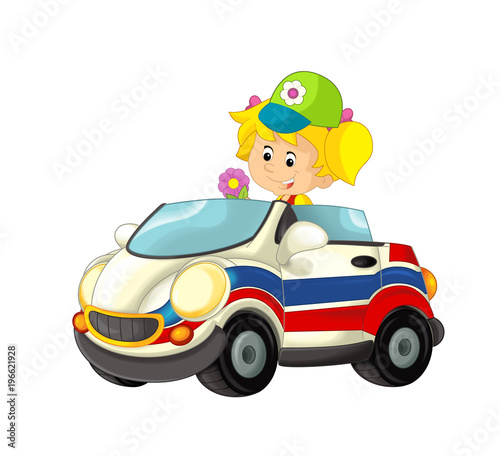 cartoon scene with happy child - girl in toy ambulance car on white background - illustration for children - 196621928