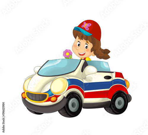 cartoon scene with happy child - girl in toy ambulance car on white background - illustration for children - 196621984