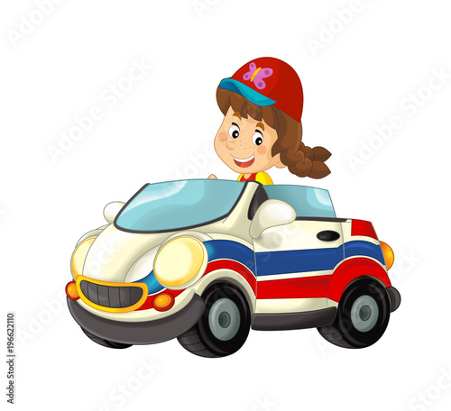 cartoon scene with happy child - girl in toy ambulance car on white background - illustration for children - 196622110