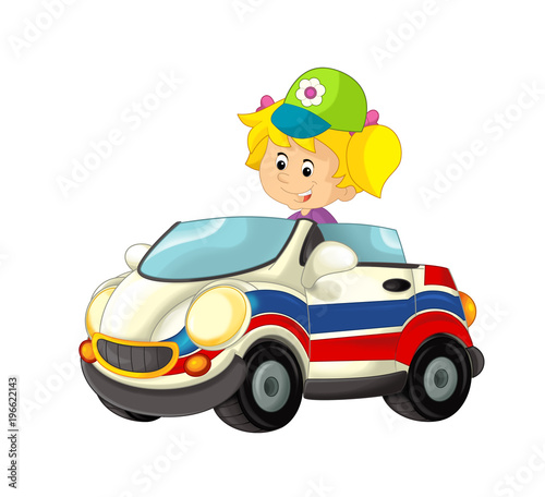 cartoon scene with happy child - girl in toy ambulance car on white background - illustration for children - 196622143
