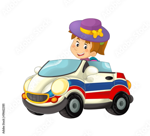 cartoon scene with happy child - girl in toy ambulance car on white background - illustration for children - 196622181