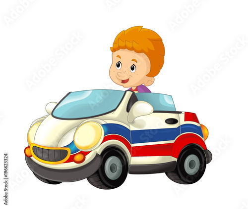 cartoon scene with child - boy in toy car ambulance on white background - illustration for children - 196623324