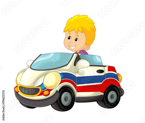 cartoon scene with child - boy in toy car ambulance on white background - illustration for children - 196623376