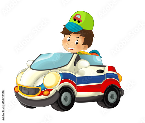 cartoon scene with child - boy in toy car ambulance on white background - illustration for children - 196623558