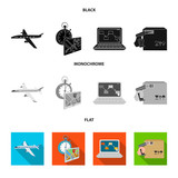 Transport aircraft, delivery on time, computer accounting, control and accounting of goods. Logistics and delivery set collection icons in black, flat, monochrome style isometric vector symbol stock