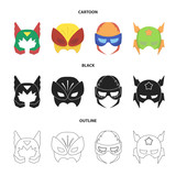 Mask on the head, helmet.Mask super hero set collection icons in cartoon,black,outline style vector symbol stock illustration web. - 196627731