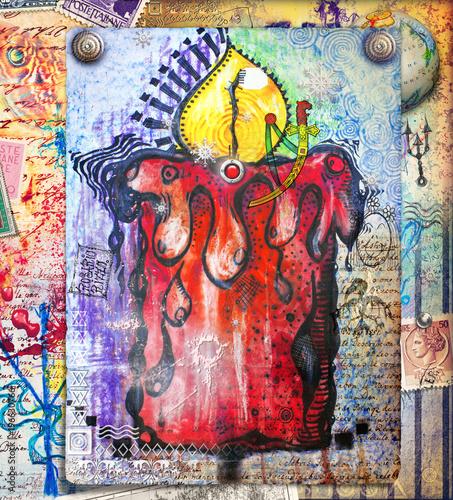 Aluminium Imagination Candela mistica e psichedelica con manoscritti e disegni esoterici e misteriosi