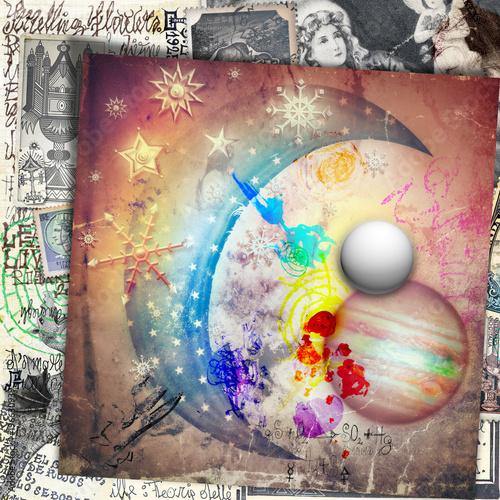Foto op Aluminium Imagination Luna delle fiabe con stelle,fiocchi di neve,pianeti e vecchi,misteriosi manoscritti