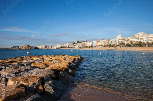 Blanes Town Skyline at Mediterranean Sea