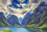Painting Beautiful sunny clouds against a background of large blue mountains - mountain spring blue landscape art.