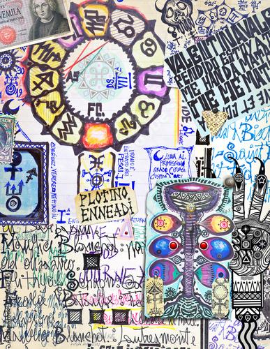 Aluminium Imagination Sfondo con oroscopi,manoscritti esoterici,alchemici e astrologici